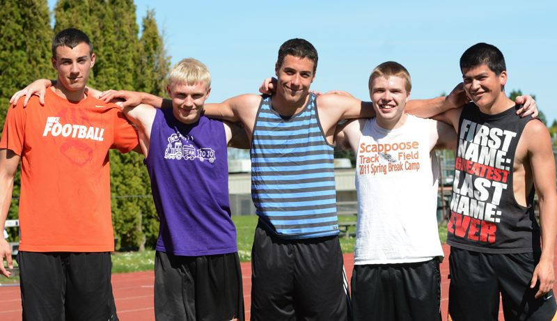 by: JOHN WILLIAM HOWARD - (From left) Justice Oman, Matt Shoun, Nick Rust, Braden Clark and Jarrett White combined to break the Scappoose school records in the 4x100 and 4x400 meter relays.