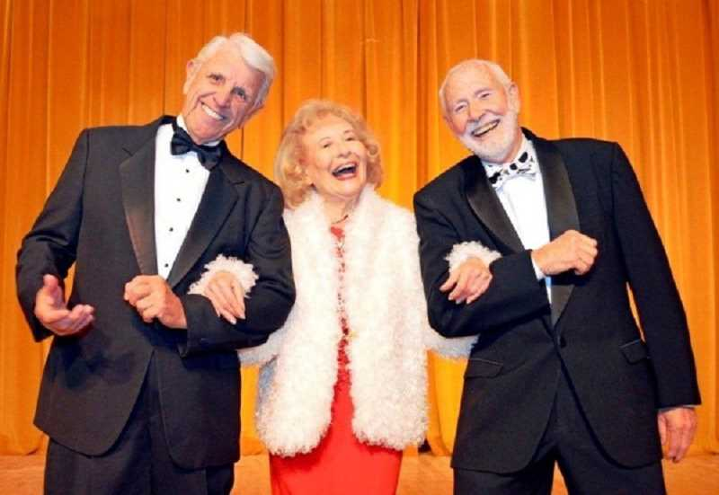 by: RON TENISON/FOR THE REGAL COURIER - HAPPY DAYS ARE HERE AGAIN - The many acts in the senior troupe's spring show include Lee Wallace (left), Betty Merrill and Bill Morris singing 'Happy Days Are Here Again.'
