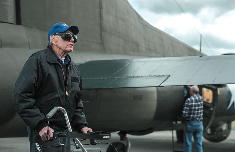 by: SPOKESMAN PHOTO: JOSH KULLA - Former B-17 crewman James Miller of Hillsboro recounted his service in Europe, during which he and his crew were shot down over Germany and taken prisoner.