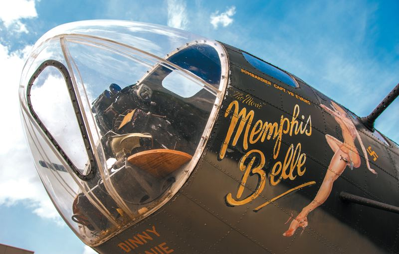by: SPOKESMAN PHOTO: JOSH KULLA - The nose art on the B-17 Memphis Belle shows off the planes namesake. This particular aircraft was used in the filming of the Hollywood film Memphis Belle.