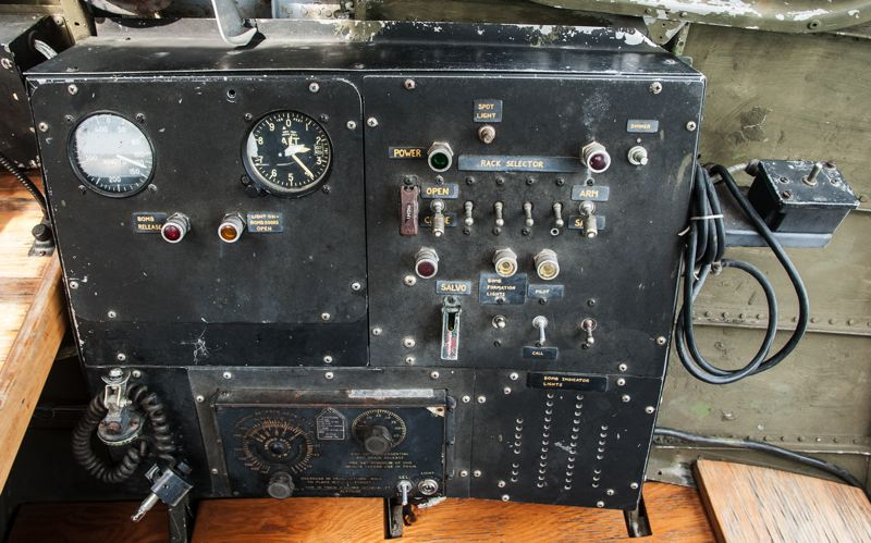 by: SPOKESMAN PHOTO: JOSH KULLA - This mechanism controlled the bomb bay and release of munitions in the B-17F.