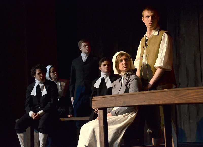 by: REVIEW PHOTO: VERN UYETAKE - Local students rehearse for 'The Crucible,' from left: Jake Borduin (Rev. hale) Sam Kamerman (Ann Putnam), Caleb Warden (Thomas Putnam), Christian Mitchell (Rev. Parris), Abby Zink (Mary Warren).