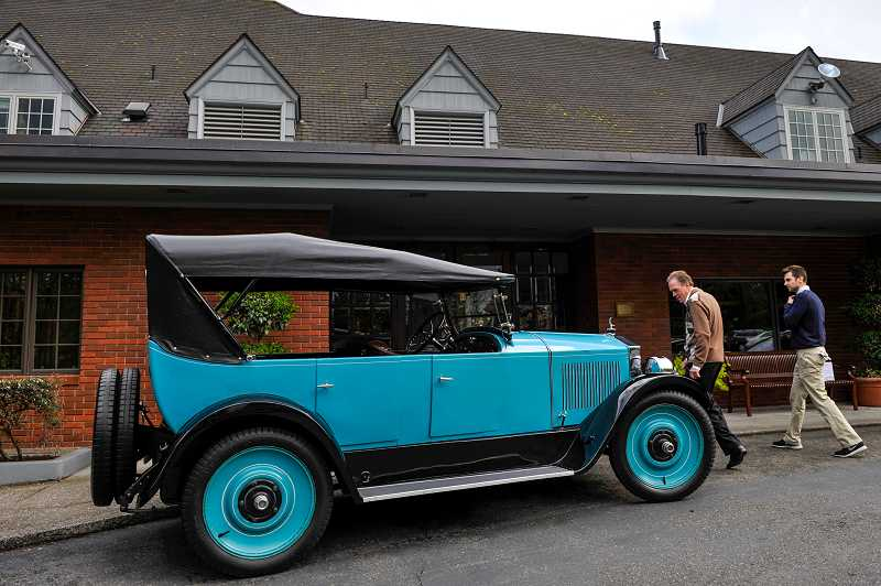 by: TIMES PHOTO: JOHN LARIVIERE - A 1914 Moon Motor Car was on display in front of the Portland Golf Club clubhouse. The car's vintage is the same year the Portland Golf Club opened 100 years ago.