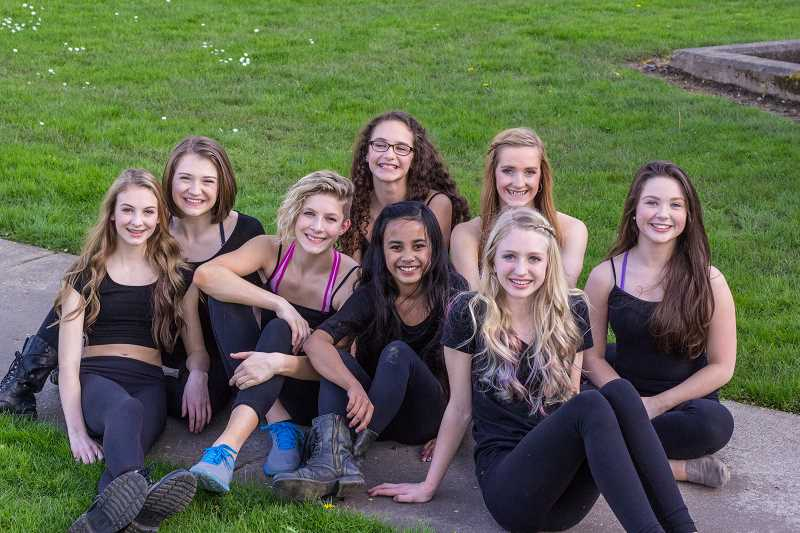 by: SUBMITTED PHOTO - Local teen dance company J2 has been invited to compete in the National Dance Awards competition in Las Vegas. Now the troupe, which includes dancers from Lake Oswego,  has mounted a GoFundMe campaign to help fund the trip. J2 includes: front row from left, Malia Yraguen of West Linn, Milan Page of Oregon City,Elizabeth Abel of Portland, Kennedy Waible of Wilsonville; back row from left,  Annie Johnson of Lake Oswego, Mimi Rupert of Portland, Mika Doman of West Linn,and Tally Steele of West Linn. For more information or to contribute, go to gofundme.com/83e16k.
