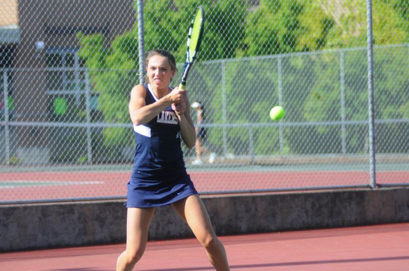 by: MATTHEW SHERMAN - Elle Meyer won at No. 3 singles for the Lake Oswego girls tennis team in recent matches against Grant and West Linn..