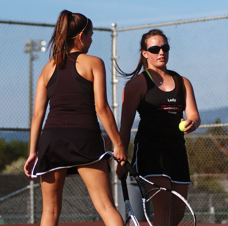 by: DAN BROOD - SENIOR STARS -- Seniors Amy Marks (left) and Cambria Rooney have shined in No. 1 doubles play for the Lady Bowmen.