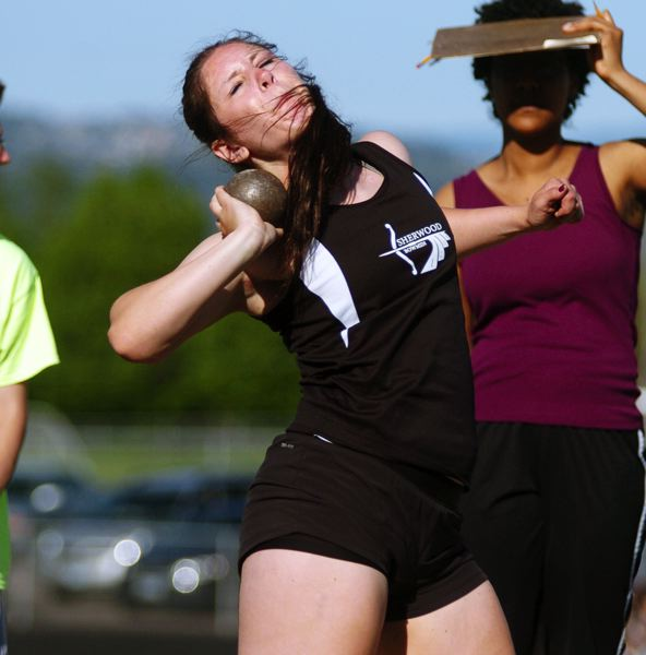 by: DAN BROOD - LET IT FLY -- Sherwood senior Elyse Cuthbertson picked up a victory in the shot put at last week's meet.
