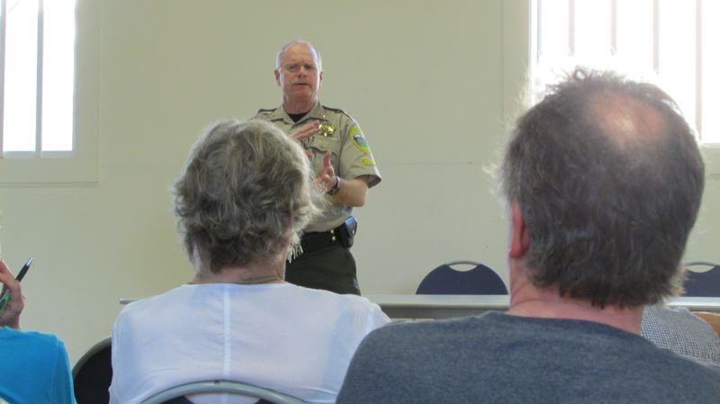 by: MARK MILLER - Columbia County Sheriff Jeff Dickerson lays out the situation with the Columbia County Jail at a town hall meeting in Columbia City on Thursday, May 1. He said his office is preparing to close the jail as early as next month unless voters approve a $7.07 million property tax levy to pay for it.