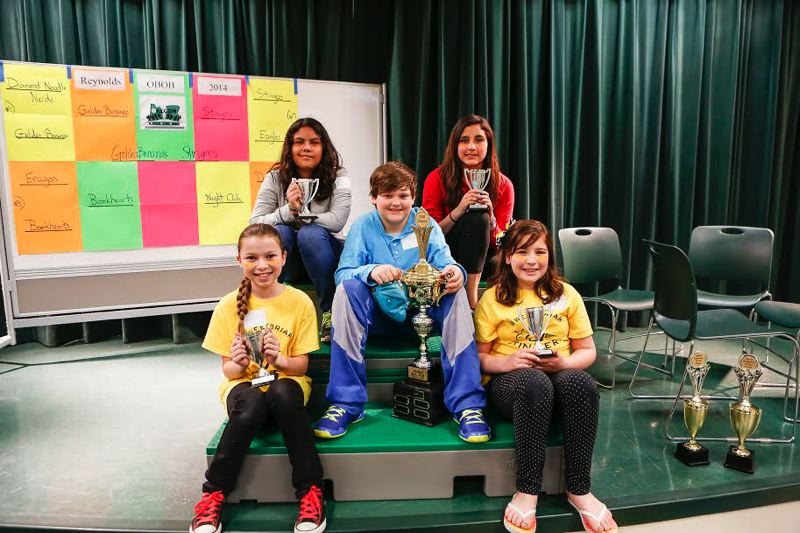 by: CONTRIBUTED PHOTO: KEN PIPER  - The Sweetbriar Elementary School team, Sweetbriar Stingers, won the 2014 Elementary Battle of the Books Championship in Reynolds School District. Team members include Brekkan Richardson, Abby Garcia, Alexis Arrendale, Elliott Demain (not pictured) and Denise Chapell.  Taylor Freeland filled in for Demain, who had to leave early.