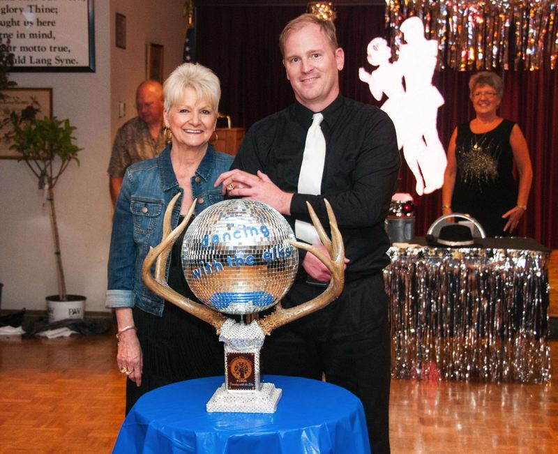 by: CONTRIBUTED PHOTO: CARL TEBBENS - Cory Williamson (mother of Mayor Shane Bemis), left, and Ted Flug won the fifth annual Dancing With the Elks competition for their moves in the dance floor and for raising the most money to underwrite live music for club throughout the year.