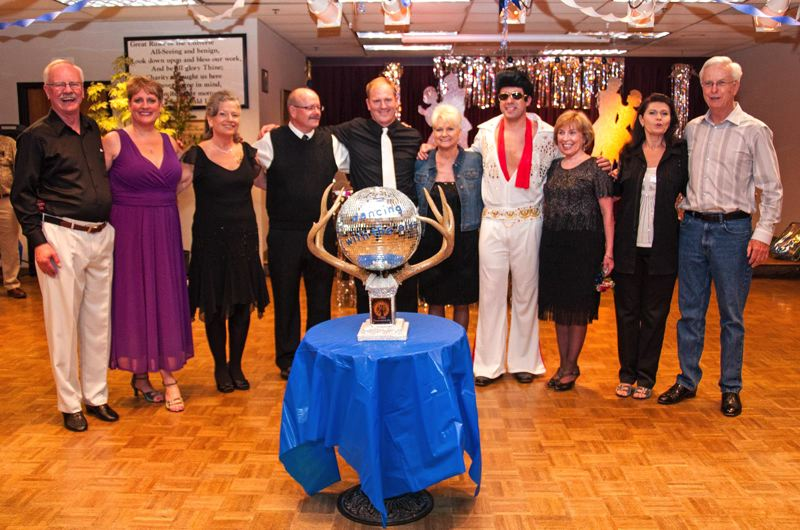 by: CONTRIBUTED PHOTO: CARL TEBBENS - Competing in this years Dancing With the Elks fundraiser were, from left, Larry Green, Linda Copeland, District 50 candidate Carla Piluso, John Copeland, Ted Flug, Cory Williamson, Gresham Mayor Shane Bemis aka Elvis, Dory Durrel, Deb Price and Mike Durrell.