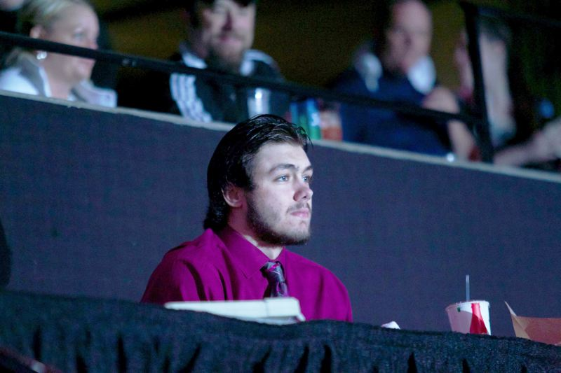 by: TRIBUNE PHOTO: JAIME VALDEZ - Blake Heinrich, a recent arrival to the Portland Winterhawks, watches Game 5 of the Western Hockey League finals. Hell suit up full-time for the  Hawks next season.