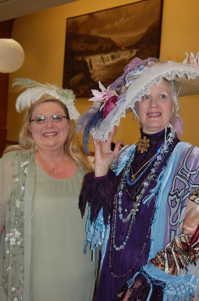 by: PHOTO BY: ROXANDRA PENNINGTON - Clackamas County Historical Society tea organizer Jerri Adams (left) is seen at last years event with Best Hat prize-winner Alyce Cornyn-Selby of the Portland Hat Museum.