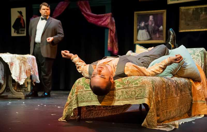 by: COURTESY PHOTO: CASEY CAMPBELL - Gary Strong as Victor and Adam Syron as Elyot take the stage in the occasionally comedically  dramatic Private Lives.