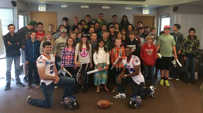 by: SUBMITTED PHOTO - Park Academy gets a visit from members of the new Portland Thunder professional football team.