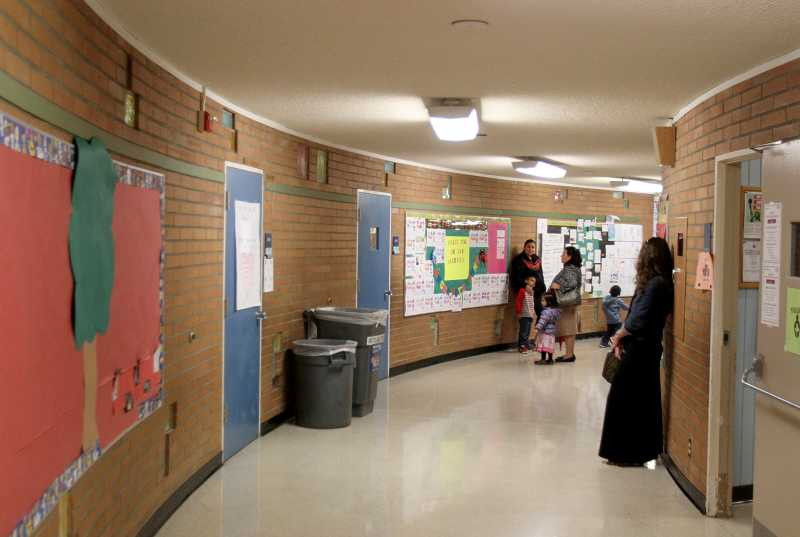 by: TIMES PHOTO: JONATHAN HOUSE - The curving hallways of Vose Elementary School make it difficult to supervise the students.