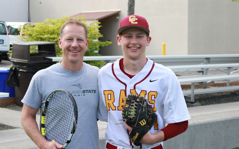 by: TRIBUNE PHOTO: COREY BUCHANAN - Toby Krauel (left) is the mens tennis coach at Portland State. He says son Jack could play for the Vikings, but the Central Catholic High junior prefers baseball, starts at shortstop for the Rams, and dreams of a college career on the diamond.