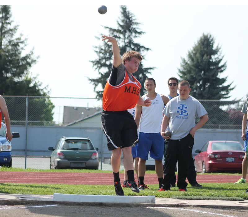 by: JIM BESEDA/MOLALLA PIONEER - Molalla freshman Mont Child unleashed a season-best throw of 44 feet, 3 inches in last week's final Tri-Valley Conference meet of the season against La Salle and North Marion. The district championships begin Friday at North Marion High School in Aurora.