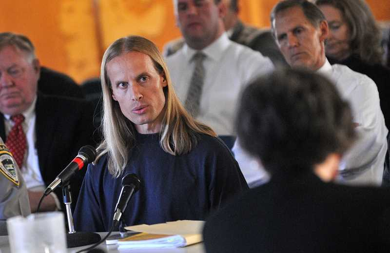 by: VERN UYETAKE - Conrad Engweiler, 40, at his exit interview with the state parole board on May 13.