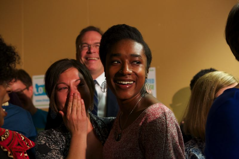 by: TRIBUNE PHOTO: JAIME VALDEZ - Sarah Wolfarth and her partner Lakia Davis react with tears of joy Monday afternoon after U.S. District Judge Michael McShane's decision to strike down Oregon's prohibition on same-sex marriage.