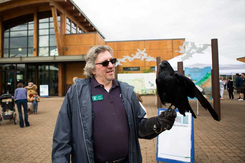 by: TIMES PHOTO: DAVID BLAIR - Scott Salzwedel, an Audubon Society of Portland volunteer, holds a raven on display during the Tualatin River Bird Festival put on by the Friends of the Refuge, at the Tualatin River National Wildlife Refuge.