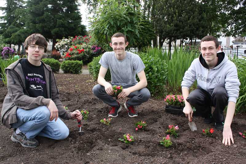 by: NEWS-TIMES PHOTOS: DOUG BURKHARDT - Forest Grove High School sophomores (left to right) Michael Dedrickson, Braden Hofeling and Dalin Hofeling were among the volunteers who came out to help beautify the Cornelius community Saturday.