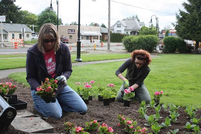 Jill Crowell (left)  and Lydia McDonald enjoyed planting begonias and geraniums at Veterans Park Saturday morning as part of the Take Care of Cornelius Day activities around the city.