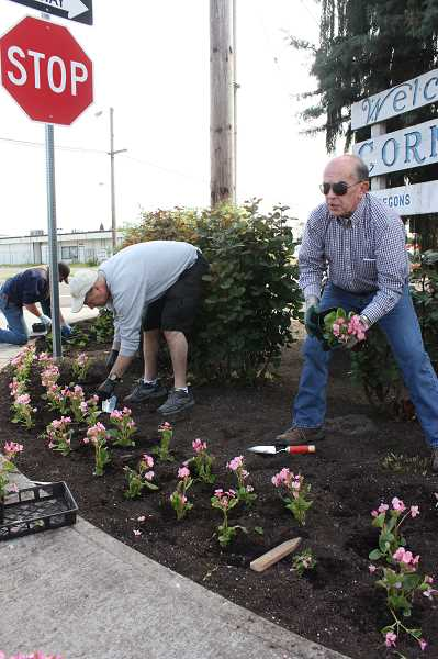 by: NEWS-TIMES PHOTOS: DOUG BURKHARDT - Cornelius City Manager Rob Drake (right) joined in for the citys annual cleanup day by helping to plant flowers at the Welcome to Cornelius sign at the western edge of the city.