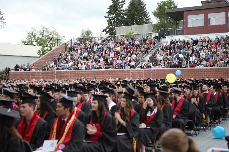 by: COURTESY PHOTO - Lincoln Park Stadium was filled with graduates, and their family members and friends, during spring commencement exercises.