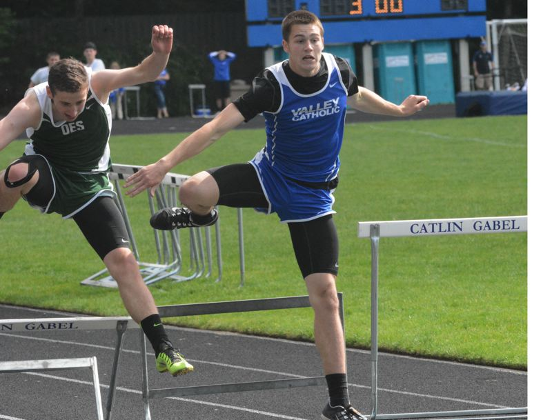 by: TIMES PHOTO: MATT SINGLEDECKER - Valley Catholic's Tysen Prunty placed second in the 110-meter and 300-meter hurdles at the Lewis and Clark District meet on Saturday.