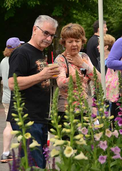 by: REVIEW PHOTOS: VERN UYETAKE - Anne OMalley of Ground Works Organic talks about strawberry varieties with Lake Oswego resident Paul Brossia.