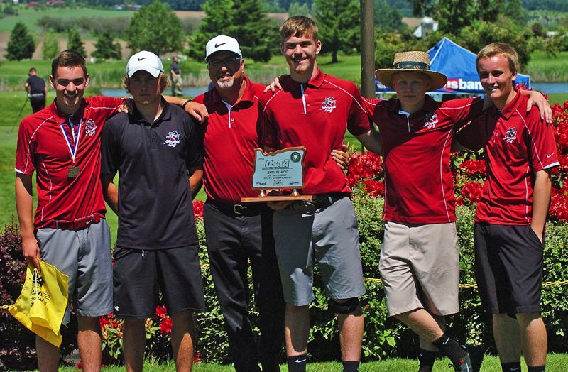 by: DAN BROOD - SECOND BEST -- The Sherwood High School boys golf team, including (from left) Joe Reed, Keegan Brasch, coach Jeff Stirling, Gabe Reed, Drew Francois and Blake Peterson tied for second place at the state tourney.