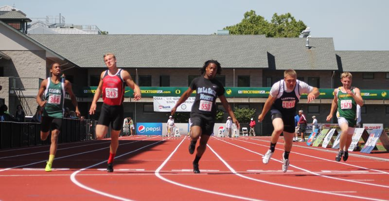 by: JIM BESEDA/MOLALLA PIONEER - Colton's Malik Knott (far left) advanced to Friday's final of the Class 3A boys' 100-meter dash after posting a personal best of 11.22 seconds in Thursday's preliminary of the OSAA track and field championships at Eugene's Hayward Field. Lakeview's Lane Hadley (second from right) won the heat with the day's fastest time of 11.04.