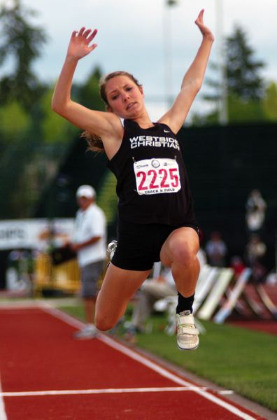 by: DAN BROOD - Westside Christian senior Kayla Brase won the Class 3A girls state triple jump championship.