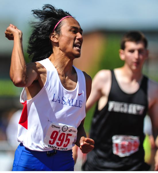 by: JOHN LARIVIERE - La Salle Prep senior Ben Hortaleza celebrates his state-championship victory in the Class 4A boys high hurdles.