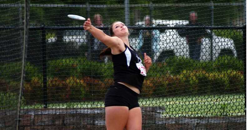 by: PAMPLIN MEDIA GROUP - Sherwood High School senior Elyse Cuthbertson claimed the Class 5A girls discus championship with a throw of 124-8.