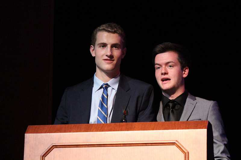 by: SUBMITTED PHOTO: EMILY PEARSON - Emcees at the Senior Showcase were, from left, Charlie Levin and Bryce Anderson.