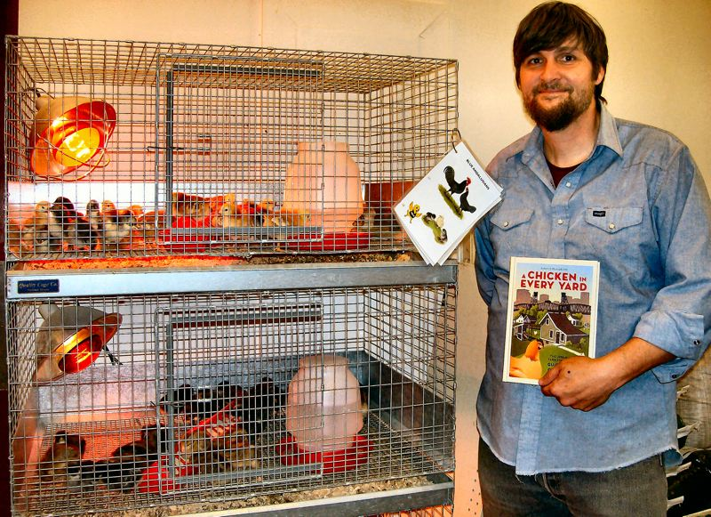 by: RITA A. LEONARD - Jason Everly, Manager at the Urban Farm Store now open on S.E. Powell Boulevard, will help customers select chickens for backyard flocks.