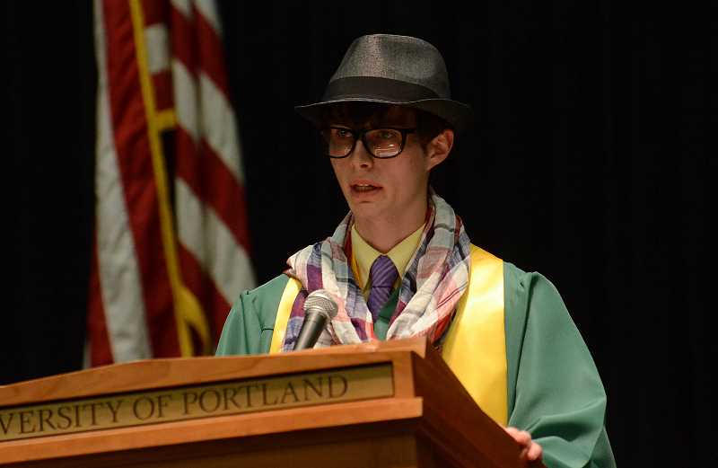 by: TIDINGS PHOTO: VERN UYETAKE - Hunter Bosson delivers his valedictory address