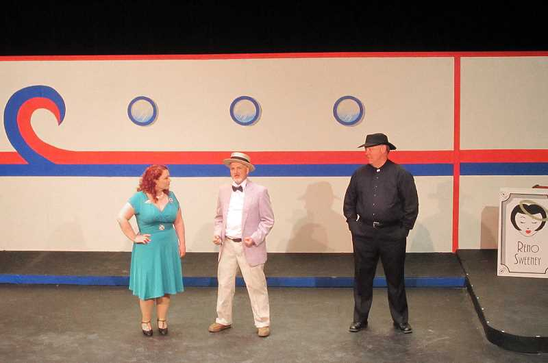 by: COURTESY PHOTO - Dorinda Toner who takes the stage as Reno Sweeney, Steve Pitzel who plays Sir Evelyn Oakleigh and Stan Yeend who takes on the role of Moonface Martine are a few of the productions strongest actors, according to News-Times reviewers.