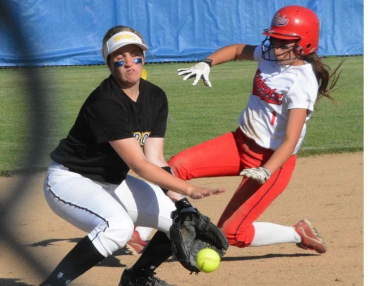 by: TIMES PHOTO: MATT SINGLEDECKER - Westview junior Alex Patino put herself in scoring position for Kylie Alto when the rightfielder walked and advanced to third on a pair of wild pitches.