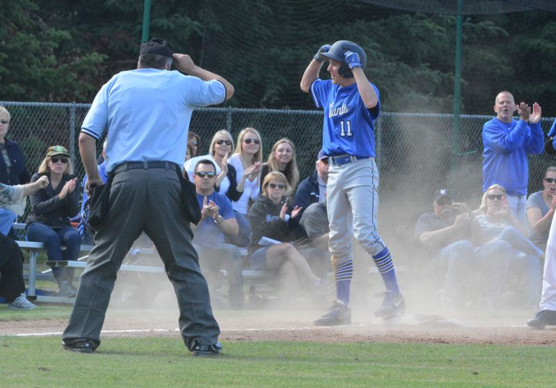 by: TIMES PHOTO: MATT SINGLEDECKER - Valley Catholic shortstop Alex Hyland celebrates his one-out triple in the third inning against Glide.