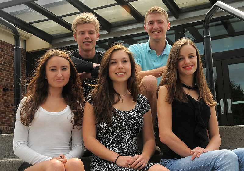 by: REVIEW PHOTO: VERN UYETAKE - The 2014 Riverdale High School top scholars, front row from left: Nicole Hollingshead, Anna-Oliver Steinberg and Madeline Hauenstein. Back row from left: Mark Lindquist and Collin Styring. Not pictured: Jessie Jansen.