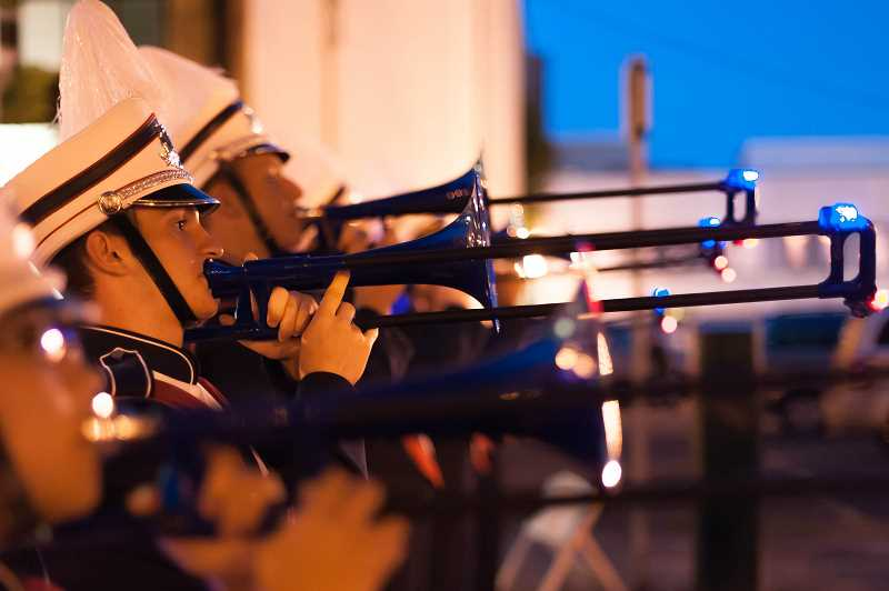 by: SUBMITTED PHOTO: DAVE MATTHYS - Ethan Agritelly makes his trombone sing at the Starlight Parade.