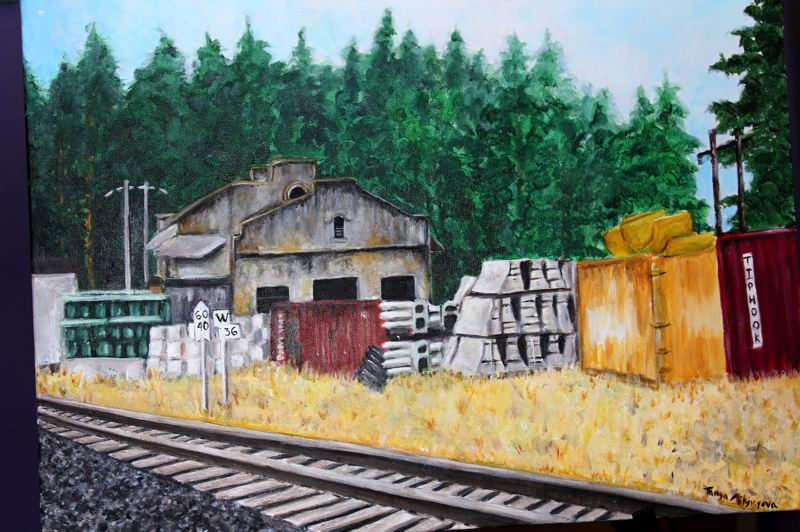 Painting of Tonquin Station by Tonya Mikheyeva. The Tualatin students' work is one of six to be purchased by the city and added to its permanent art collection.