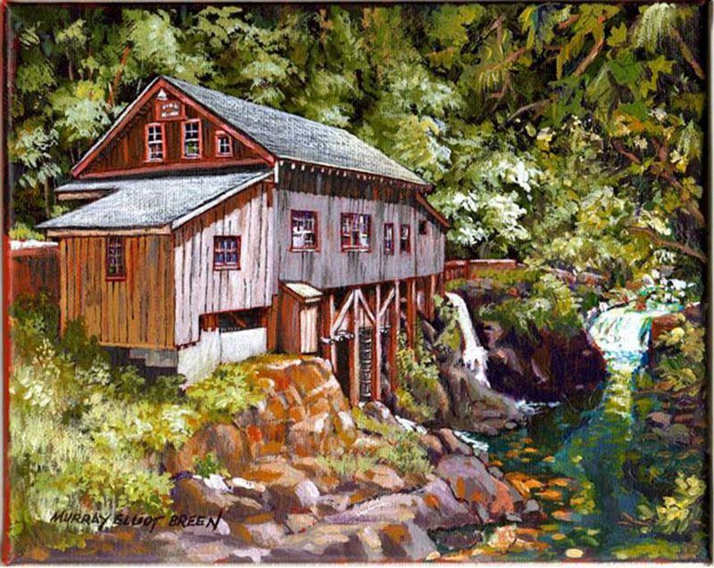 by: SUBMITTED ART - Tigard painter Murray Elliot Breens painting of Cedar Creek Grist Mill is part of a collection of art on display in the inaugural Downtown Tigard Art Walk along Main Street through June 22.