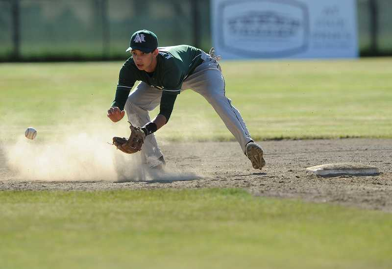 by: RYAN BRENNECKE / THE BEND BULLETIN - Kyle Williamson fields a ground ball during the third inning of the North Marion baseball team's state semifinal game against Sisters on the road June 3. The Huskies fell 7-2.