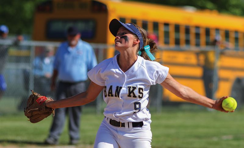 by: NEWS-TIMES PHOTO: CHASE ALLGOOD - Banks junior Hannah VanDomelen delivers a pitch during last Friday's 5-4 victory over Mazama, which clinched the Lady Braves' third straight appearance in the Class 4A semifinals.