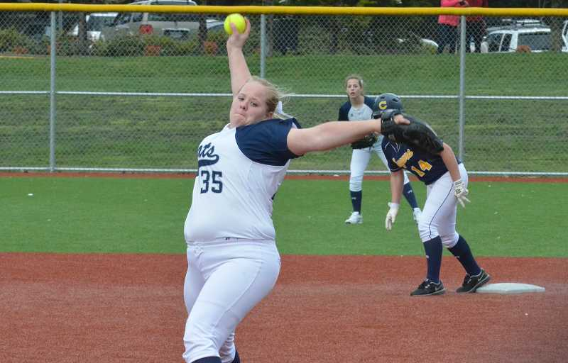 by: JEFF GOODMAN / FILE - Senior pitcher Sarah Harms made the all-league second team this season. She was one of six Wilsonville softball players to earn all-conference honors.