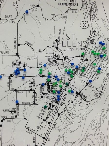 by: PHOTO COURTESY OF COLUMBIA COUNTY SHERIFFS OFFICE - The Columbia County Sheriff's Office released a map Friday, May 30, marking recent thefts (green) and burglaries (blue) that have occurred in the St. Helens area (see Rash of burglaries continue near St. Helens, Friday, May 30). The string of crimes is ongoing in and around St. Helens, said Sheriff Jeff Dickerson, who added he has never seen anything like it.  